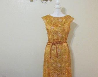 Yellow orange batik print silk dress 60s  - drop waist and pleated