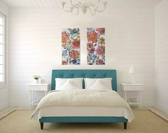 Flower garden paintings, set of 2, Abstract flowers, Colorful, Textured Art, Hidden Garden collection 12 x 24 each
