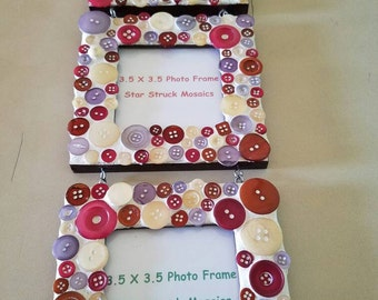 3 piece Mosaic Button Wall picture Photo Frame