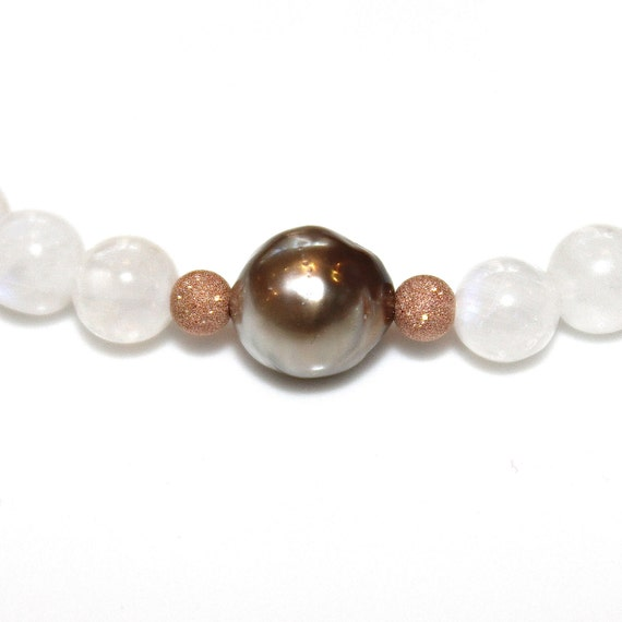Taupe Tahitian Pearl Stretch Bracelet