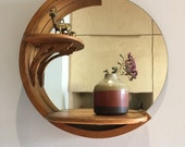 Vintage Wood Mirror with Shelves - Round Mirror