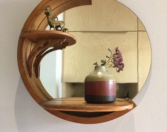 Vintage Wood Mirror with Shelves - Round Mirror
