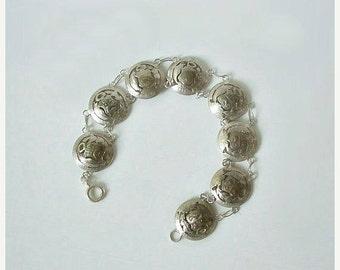Antique Coin Bracelet Peruvian Cut Out / Away .900 Silver