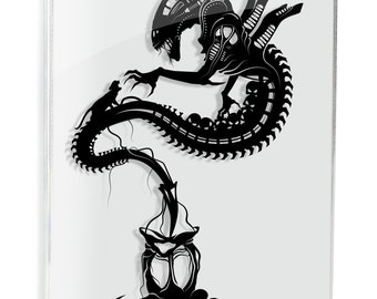 Xenomorph Alien Movie Aliens SciFi Horror Art Papercraft Ripley Face Hugger Dark Art UFO Monster Art Geek Gift For Him Space Giger Art
