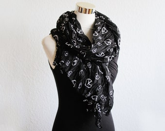 Women Black  cotton scarf with White peace symbol pattern shawl scarves neckwarmer accessories Orange Summer Scarf Gift Ideas For Her schal
