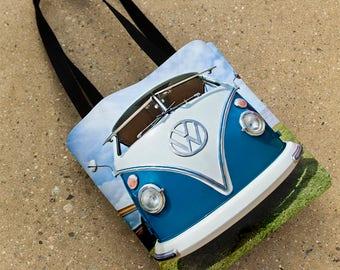 VW Bus Tote Bag, Volkswagen Purse, 15x15 Volkswagen Bag, Volkswagen Van Tote Bag, VW Gift, Blue Van Tote, 15x15 Photo Tote Bag