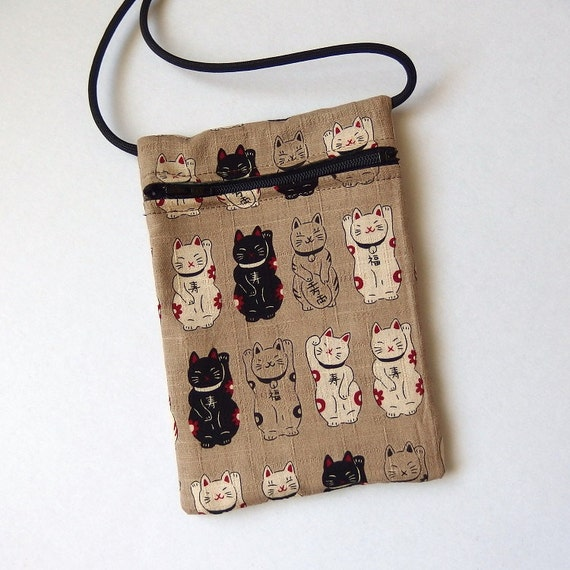 Pouch Zip Bag Japanese Cat Fabric Cell Phone Pouch By