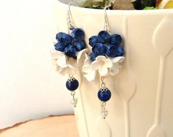 Blue Earrings,Flower Earrings,Berry Earrings,Blue Jewelry,Flower Jewelry,Dangle Earrings,Berries,Gift for Her,Blueberry,Made To Order