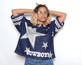 Vintage 90's Dallas Cowboys NFL Mesh Cropped Football Jersey Sz L