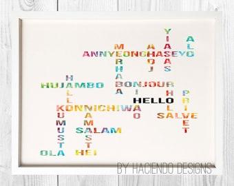 A Worldly Hello Print Digital Art Wall Decor