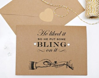 Bling Engagement Card with Diamantes.