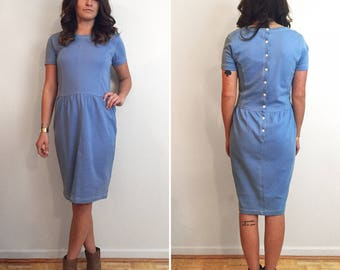 Vintage Adrienne Vittadini Cotton Elastic Waist Light Blue Sheath Dress with Button Up Back Small/Medium