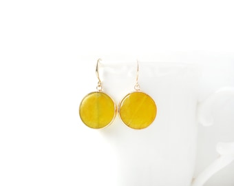 Polished Gold Plated Yellow Jade Round Earrings