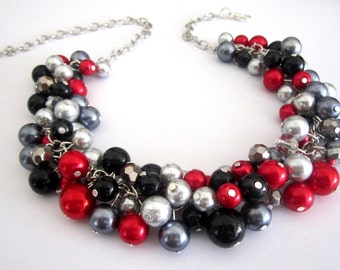 Red Statement Necklace, Red Pearl Necklace, Bridesmaid Necklace, Bridesmaid Gift, Pearl Wedding Jewelry in Red Black and Gray