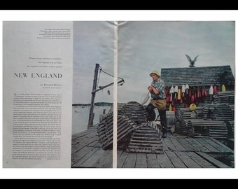 Stonington ME Maine 1955.  Iconic Lobsterman with Colorful Trap Buoys.  Picturesque New England Holiday Magazine.  2 pages Ready to Frame