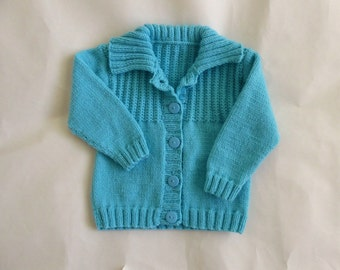 Aqua baby cardigan with collar, girl or boy knit sweater 6 to 12 months, child's knitted cardigan, knit baby sweater, knitted baby clothes