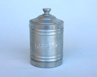 Small 1950s Italian coffee storage tin made of aluminium