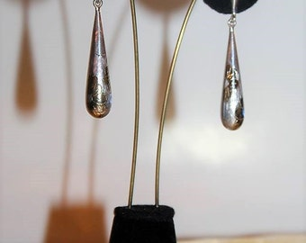 SALE! Vintage Alluring Sterling Silver Gold Filled Etched Studio Artisan Dangle Earrings E15