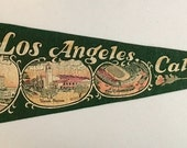 Vintage 'Los Angeles Calif. City Hall, Union Station, Coliseum' California Pennant