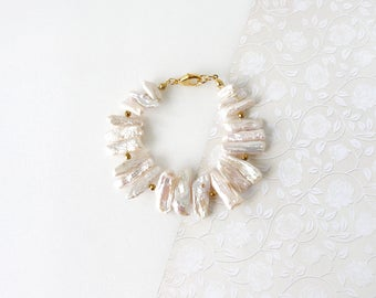 Natural Pearl Stick Bracelet, Freshwater Pearl Strand Luster Jewelry