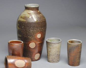 Sake Whiskey Set Wood Fired with Four Cups G49