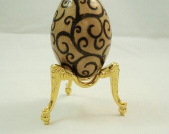 Maple Wood Turned Egg Shaped Kaleidoscope with Woodburned Swirl Design