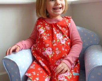 Reversible A-Line Pinafore Dress, Red Rose / Gingham Design, Made to Order in Sizes 3m-6y
