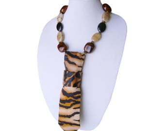 TIEGRIS Necktie necklace tiger pattern tribal necklace wild animal women's necktie feminine fashion accessory modern necktie ladies neckties