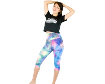 Capri Pants Yoga Tie Dye Leggings Printed Workout Pants Boho Mermaid Womens Yoga Apparel