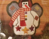 Christmas Felt Snowman Angel Pillow Vintage Sewing Kit New