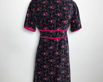 Vintage 1960s Velvet Floral Mini Dress, Size M