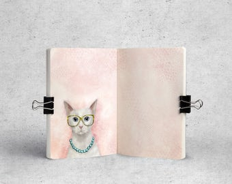 A6 TN Planner Inserts. Printable pages. Cute Travelers notebook inserts. Pink Cat