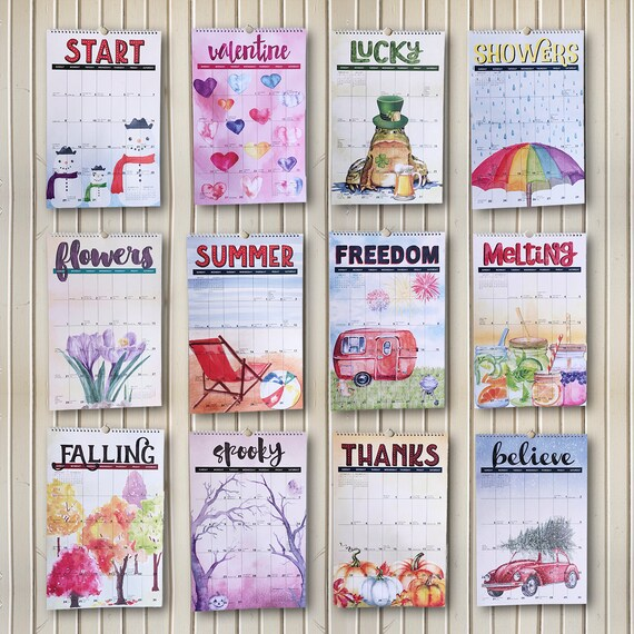 2017 Watercolor Wall Calendar; wall, large (11x17) featuring fun artwork, themes and bizarre holidays