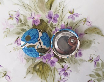 Button Earrings / Blue Rose / Vintage Fabric Covered / Wholesale Jewelry / Great for Resale / Bridesmaid Gifts / Lightweight Earrings