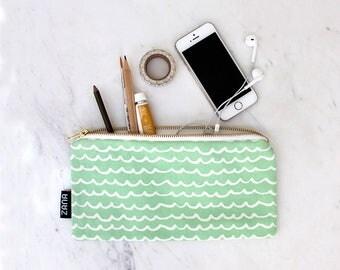 Waves Mint or Pink Pencil Bag