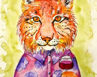 "Original watercolour,mixed media illustration ,fun,lynx ""Cheers"""