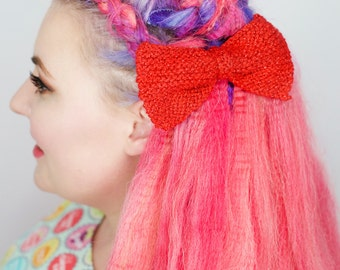 Red Knitted Hair Bow