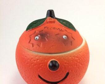 Florida orange sugar bowl google eyes vintage tourist souvenir kitchen Fruit decor