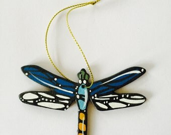 """Dragonfly Ornament - Christmas Tree Decor - 3"""" Original Handmade and Signed Cute Dragonfly Wood Flat Ornament. Dragonfly Gift, Original Art."""