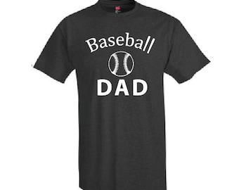 Baseball Dad Shirt - T-Shirt. Long Length Tee. Black, White, Grey