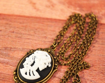 Skeleton Cameo Necklace, Skull Cameo Necklace, Skeleton Cameo Jewelry, Skull Cameo Jewelry, Skeleton Jewelry, Skull Jewelry, Cameo Jewelry