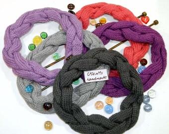 Knit chunky cowl - knitted neck warmer - chunky headband - pink headband - grey headband - purple headwrap - gift for her - winter headband