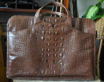 1960s John Hort Stamped Leather Faux Crocodile Briefcase