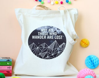 Wander are Lost Quote Tote Bag. Book Bag. Literary Quote. Geometric. Reading. Book Lover. Literary Gifts. Book Bag. Book Worm. Book Tote Bag