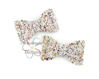 """NEW White Colorful Glitter Bows - 2.75"""" Shimmery Bow Double Loops - DIY Headband Hair Clip Supplies - Set of 2 Bows"""