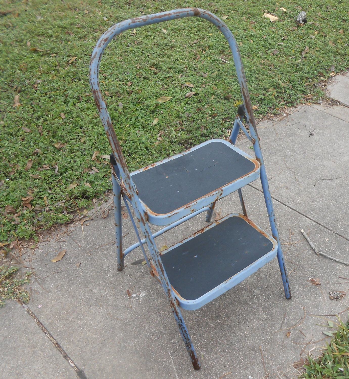 Vintage Folding Step Stool Industrial Kitchen Collapsible