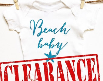 CLEARANCE! Baby Clothes. BEACH Baby  baby romper. baby gift. baby shower. Baby announcement. Baby boy. Baby Girl. Ocean. Nautical. Bodysuit.