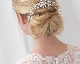 Floral Bridal Hair Comb, Rhinestone Bridal Hair Comb, Floral Bridal Backpiece, Bridal Back Comb, Hair Accessory, Bridal Headpiece ~TC-2305
