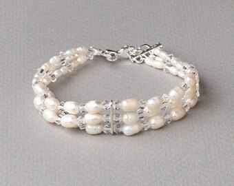 Freshwater Pearl Bracelet, Pearl Wedding Bracelet, Pearl & Crystal Bracelet, Pearl Bridal Accessory, Wedding Bracelet,Bride Jewelry ~JB-4828