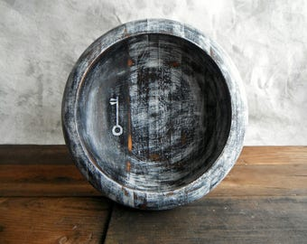 Striped Wood Bowl (re)Designed in Goth Key